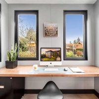 Modern design in a backyard office in BC